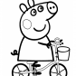 Peppa pig on bike cartoon