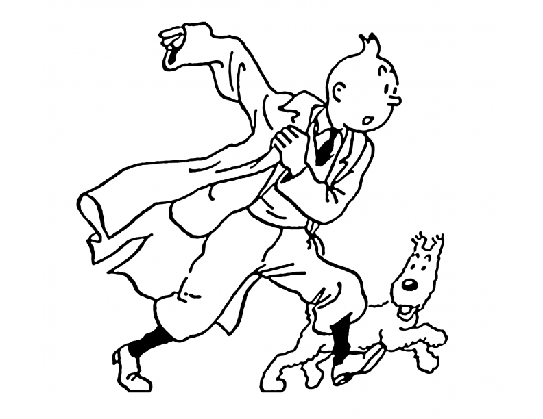 Tintin is covered by papers with formulas on them coloring page ... | 612x792