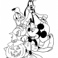 Halloween Disney characters coloring page, Happy Halloween