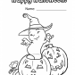 Halloween Funny ghost coloring page, Happy Halloween