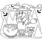 Halloween Witch and cat coloring page, Halloween