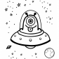 Funny alien in UFO Coloring page