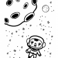 Little astronaut in a space Coloring page