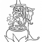 Funny halloween Witch and cat coloring page, Happy Halloween