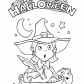 Happy Halloween and Pretty Witch coloring page, Halloween