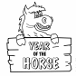 Year of horse Chinese new year coloring page