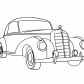 Super car Mercedes old coloring page vintage car
